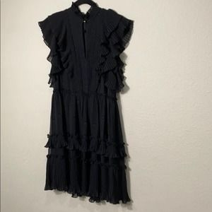 Kate Spade Glitz Pleated Ruffle Dot Black Dress